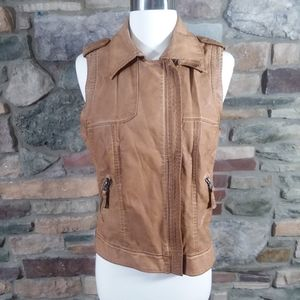 Zara brown faux leather moto vest US medium